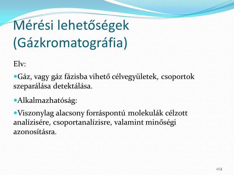 Mérési lehetőségek (Gázkromatográfia) Elv: Gáz, vagy gáz fázisba vihető célvegyületek, csoportok szeparálása detektálása. Alkalmazhatóság: Viszonylag