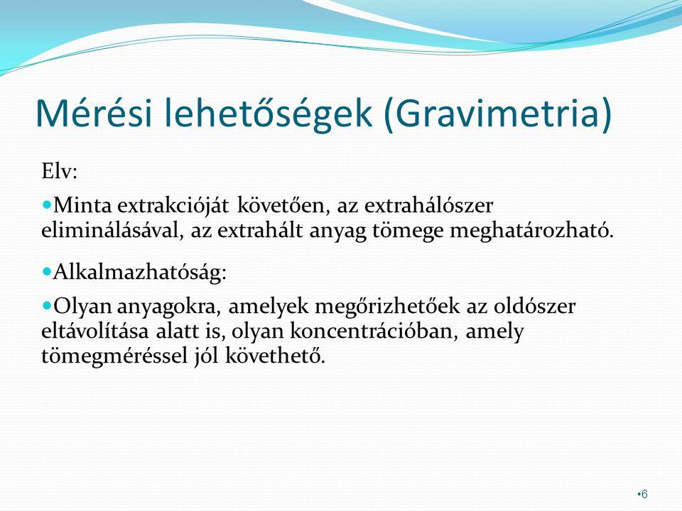 Mérési lehetőségek (Gravimetria) Elv: Minta extrakcióját követően, az extrahálószer eliminálásával, az extrahált anyag tömege meghatározható. Alkalmaz