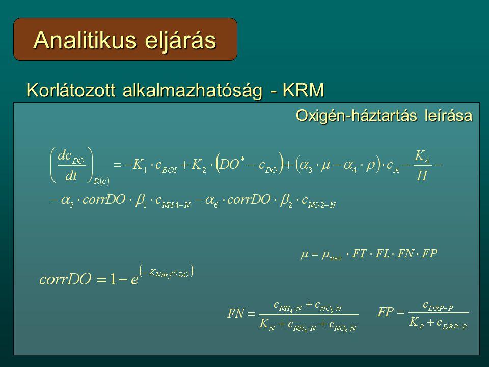Korlátozott alkalmazhatóság - KRM Realisztikus peremi, kezdeti feltételekRealisztikus peremi, kezdeti feltételek Térben, időben változó paraméterekTérben, időben változó paraméterek Nem-lineáris reakció-kinetikaNem-lineáris reakció-kinetika Analitikus eljárás Oxigén-háztartás leírása