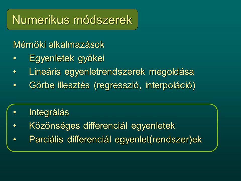 Mérnöki alkalmazások Egyenletek gyökeiEgyenletek gyökei Lineáris egyenletrendszerek megoldásaLineáris egyenletrendszerek megoldása Görbe illesztés (regresszió, interpoláció)Görbe illesztés (regresszió, interpoláció) IntegrálásIntegrálás Közönséges differenciál egyenletekKözönséges differenciál egyenletek Parciális differenciál egyenlet(rendszer)ekParciális differenciál egyenlet(rendszer)ek Numerikus módszerek