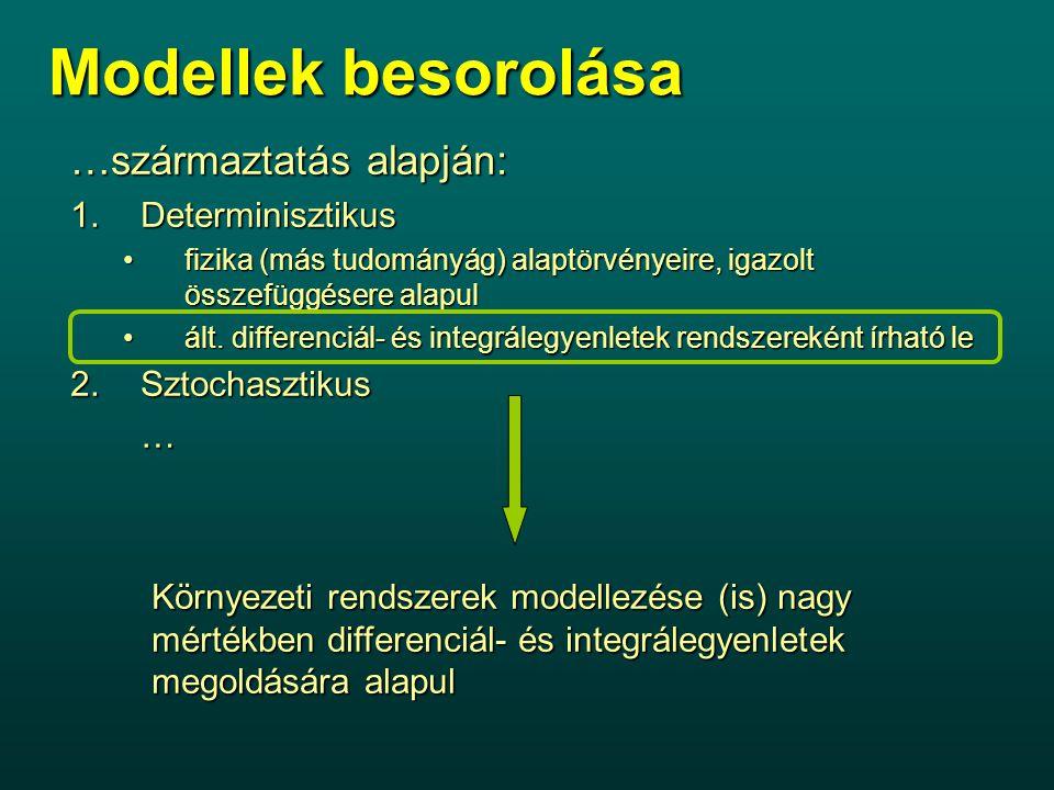 Modellek besorolása …származtatás alapján: 1.Determinisztikus fizika (más tudományág) alaptörvényeire, igazolt összefüggésere alapulfizika (más tudományág) alaptörvényeire, igazolt összefüggésere alapul ált.