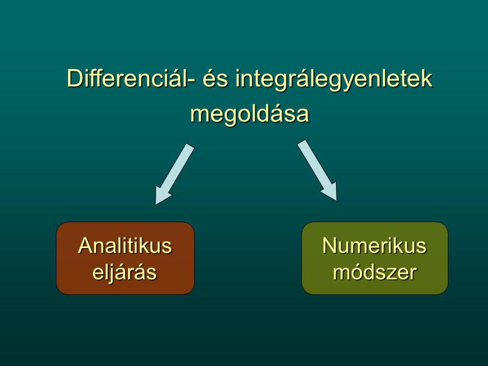 Differenciál- és integrálegyenletek megoldása AnalitikuseljárásNumerikusmódszer