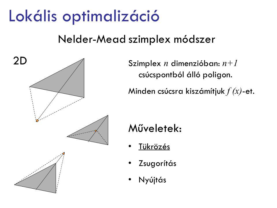 Nelder-Mead szimplex módszer Lokális optimalizáció Jellemzők: Rendkívül stabil Olcsó f (x) esetén jó Rosszul konvergál