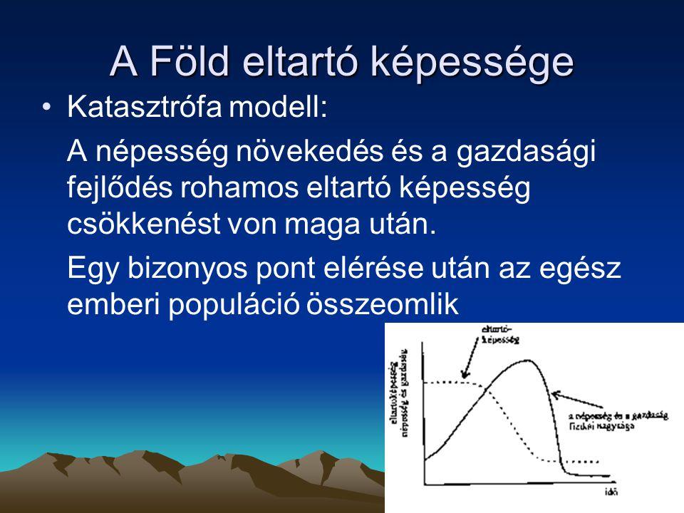 A Föld eltartó képessége Katasztrófa modell: A népesség növekedés és a gazdasági fejlődés rohamos eltartó képesség csökkenést von maga után. Egy bizon