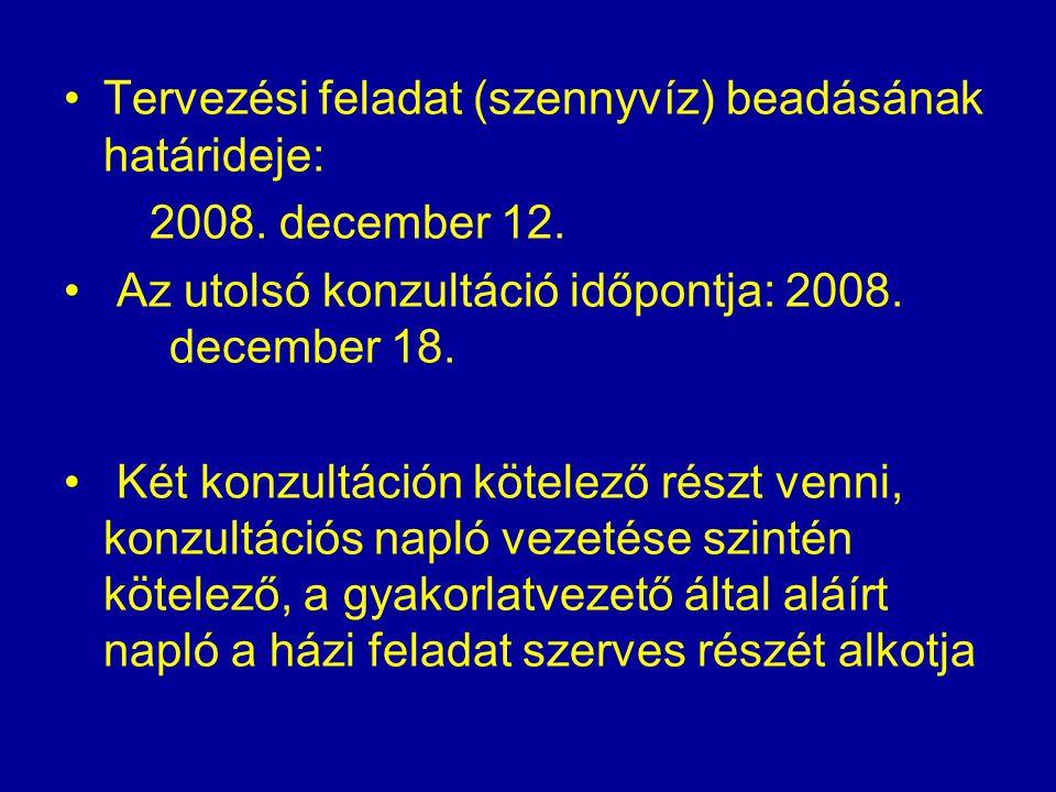 Tervezési feladat (szennyvíz) beadásának határideje: 2008. december 12. Az utolsó konzultáció időpontja: 2008. december 18. Két konzultáción kötelező