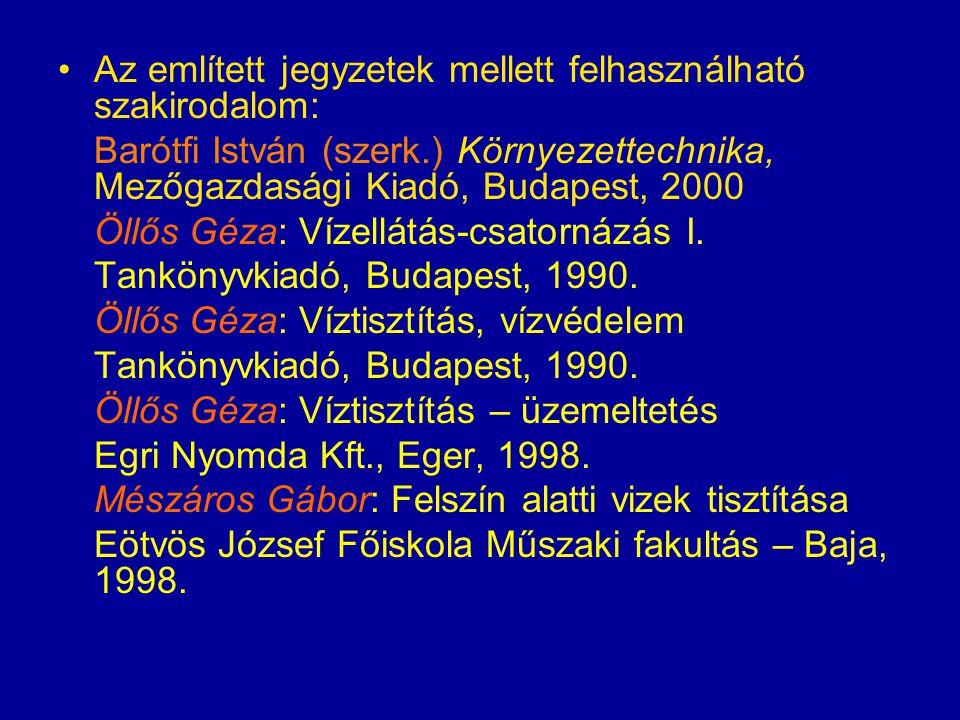 Öllős Géza: Szennyvíztisztítás BME Mérnöktovábbképző Intézet, 1992.
