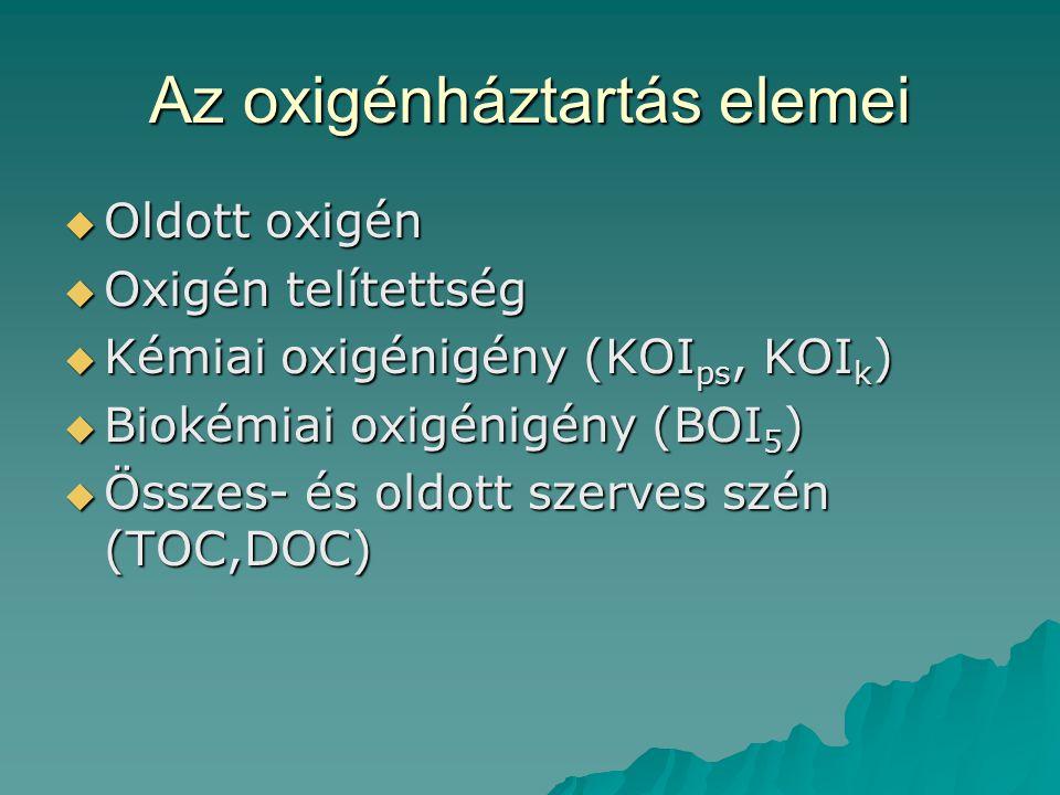 Az oxigénháztartás elemei  Oldott oxigén  Oxigén telítettség  Kémiai oxigénigény (KOI ps, KOI k )  Biokémiai oxigénigény (BOI 5 )  Összes- és old