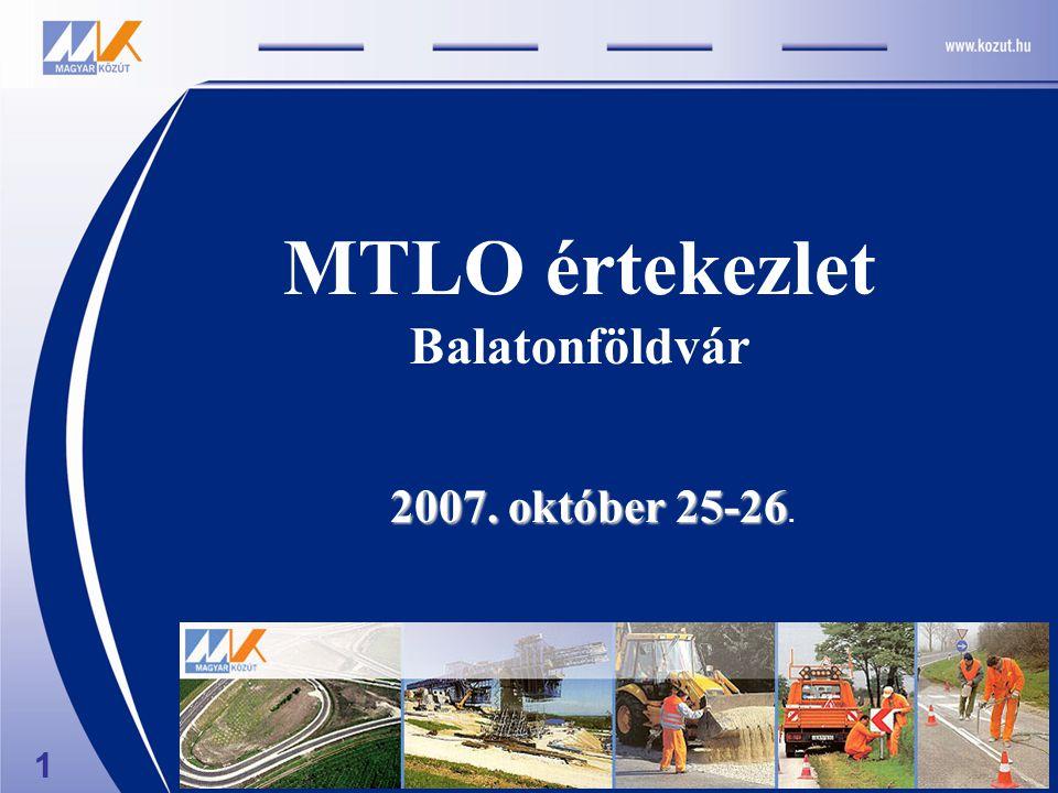 MTLO értekezlet Balatonföldvár 2007. október 25-26 2007. október 25-26. 1