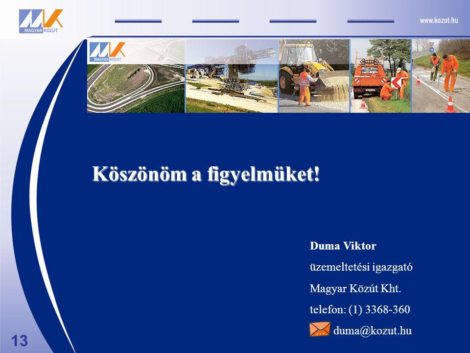Duma Viktor üzemeltetési igazgató Magyar Közút Kht. telefon: (1) 3368-360 duma@kozut.hu Köszönöm a figyelmüket! 13