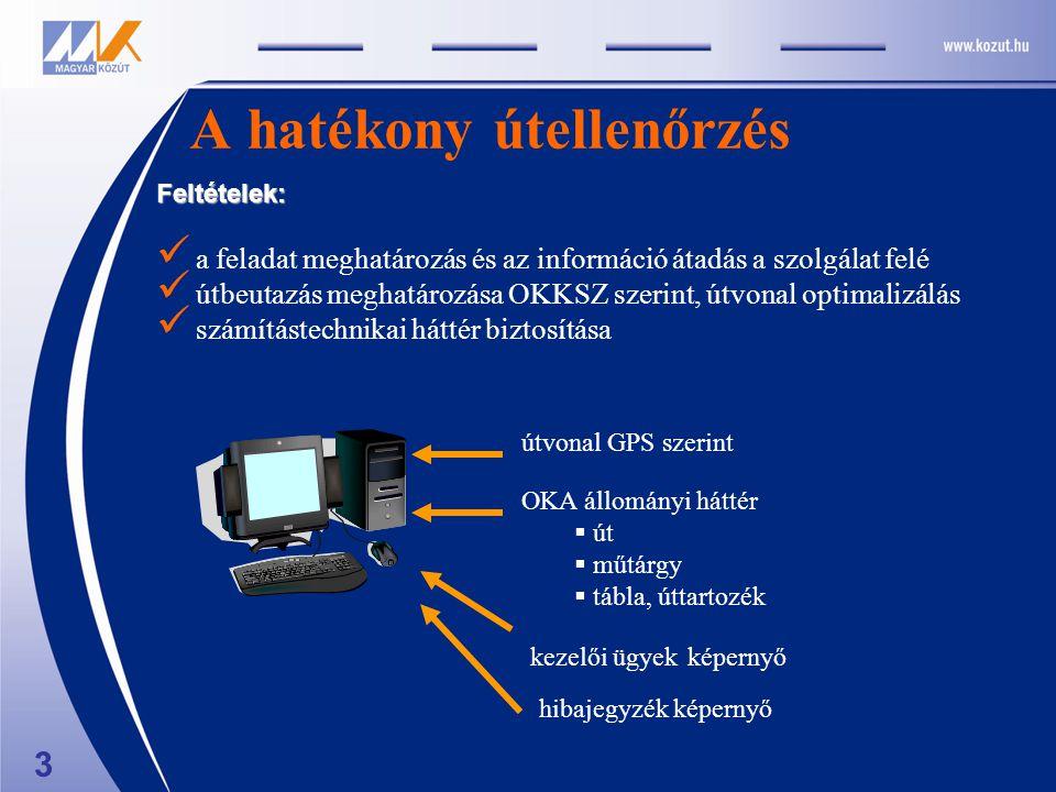 A hatékony útellenőrzés útvonal GPS szerint OKA állományi háttér  út  műtárgy  tábla, úttartozék kezelői ügyek képernyő hibajegyzék képernyő 3 Feltételek: a feladat meghatározás és az információ átadás a szolgálat felé útbeutazás meghatározása OKKSZ szerint, útvonal optimalizálás számítástechnikai háttér biztosítása