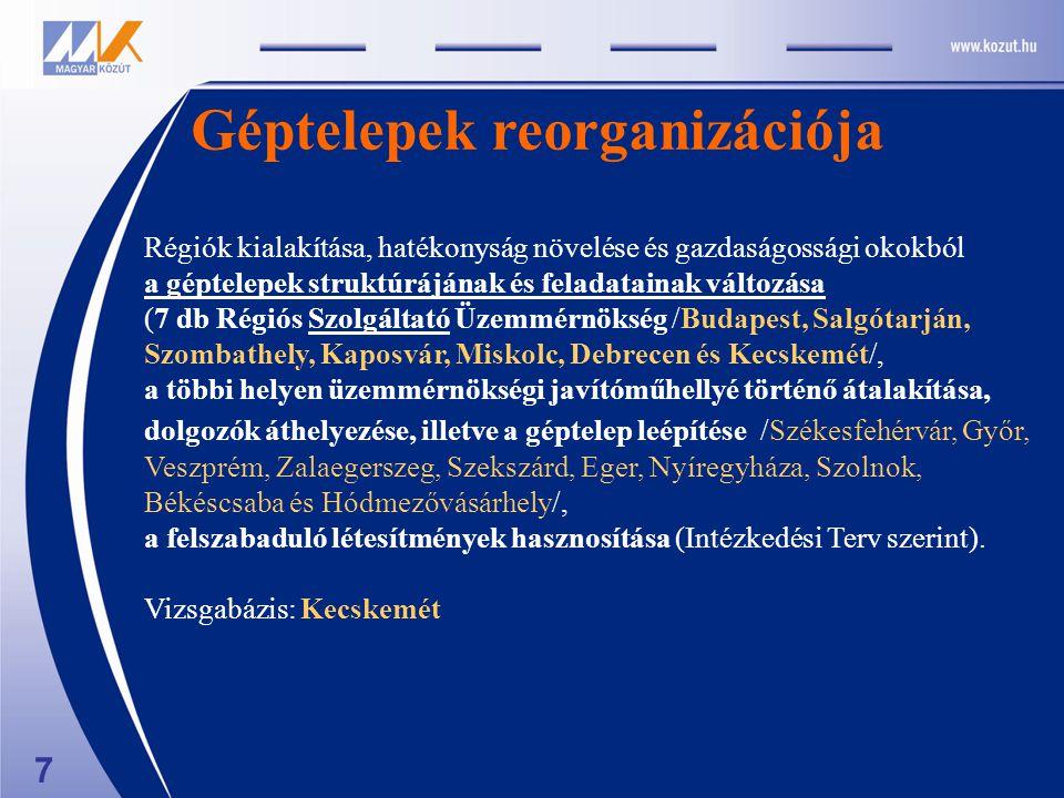 Régiók kialakítása, hatékonyság növelése és gazdaságossági okokból a géptelepek struktúrájának és feladatainak változása (7 db Régiós Szolgáltató Üzemmérnökség /Budapest, Salgótarján, Szombathely, Kaposvár, Miskolc, Debrecen és Kecskemét/, a többi helyen üzemmérnökségi javítóműhellyé történő átalakítása, dolgozók áthelyezése, illetve a géptelep leépítése /Székesfehérvár, Győr, Veszprém, Zalaegerszeg, Szekszárd, Eger, Nyíregyháza, Szolnok, Békéscsaba és Hódmezővásárhely/, a felszabaduló létesítmények hasznosítása (Intézkedési Terv szerint).