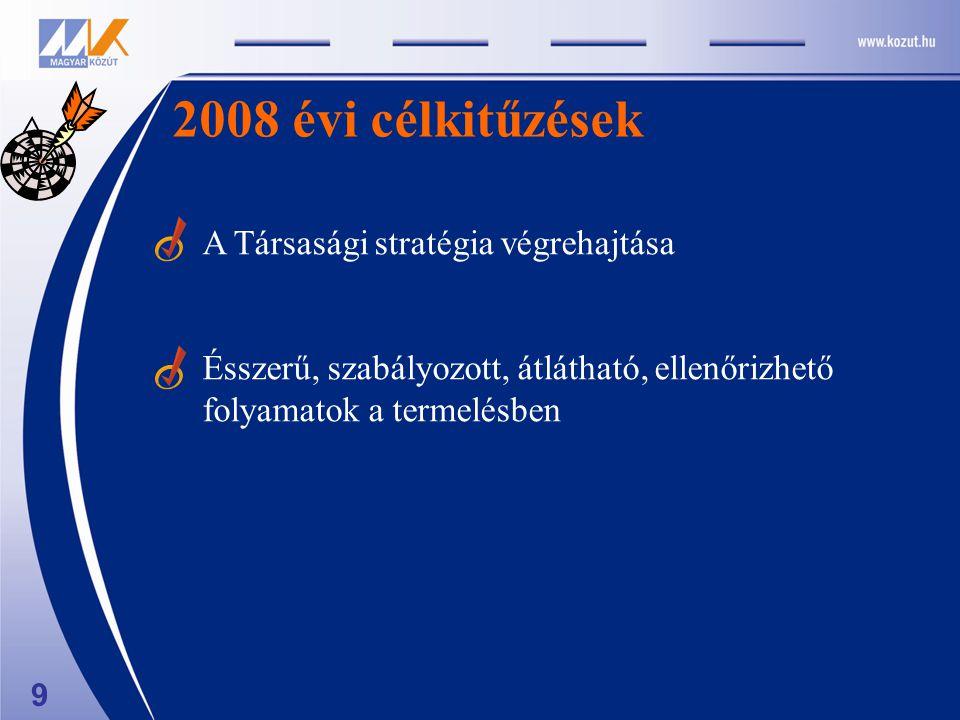 9 2008 évi célkitűzések A Társasági stratégia végrehajtása Ésszerű, szabályozott, átlátható, ellenőrizhető folyamatok a termelésben