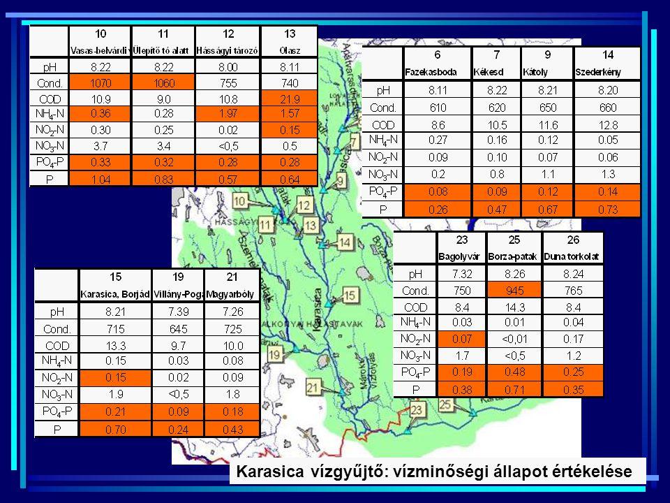 Tápanyagterhelés miatt kockázatos vizek 2005-ös Nemzeti Jelentés: a felszíni víztestek (890 vízfolyás és 220 állóvíz) kétharmada, 2006. évi felülvizsg