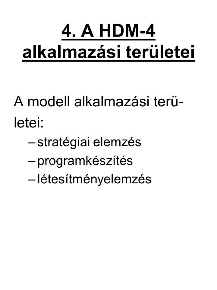 4. A HDM-4 alkalmazási területei A modell alkalmazási terü- letei: –stratégiai elemzés –programkészítés –létesítményelemzés