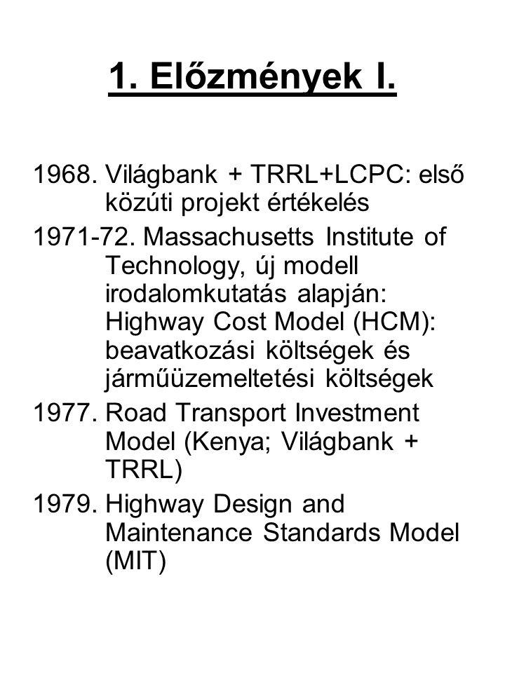 1. Előzmények I. 1968. Világbank + TRRL+LCPC: első közúti projekt értékelés 1971-72. Massachusetts Institute of Technology, új modell irodalomkutatás