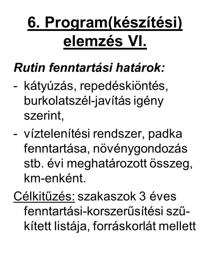 6. Program(készítési) elemzés VI. Rutin fenntartási határok: -kátyúzás, repedéskiöntés, burkolatszél-javítás igény szerint, -víztelenítési rendszer, p