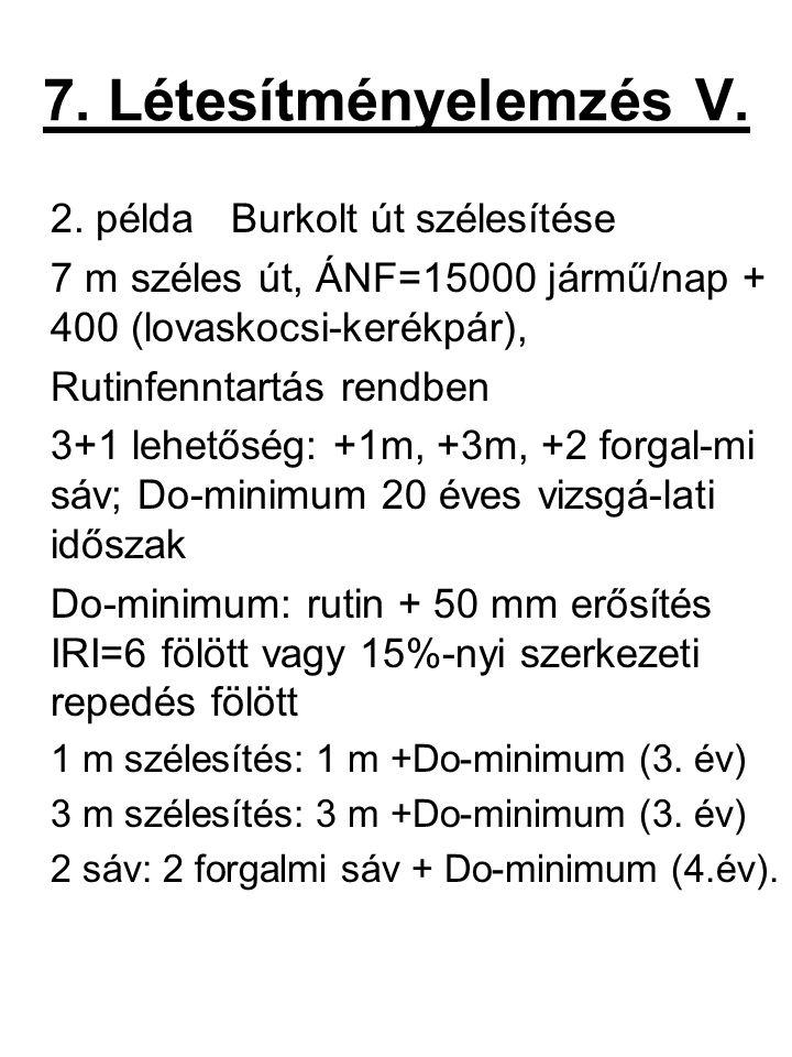 7. Létesítményelemzés V. 2. példa Burkolt út szélesítése 7 m széles út, ÁNF=15000 jármű/nap + 400 (lovaskocsi-kerékpár), Rutinfenntartás rendben 3+1 l