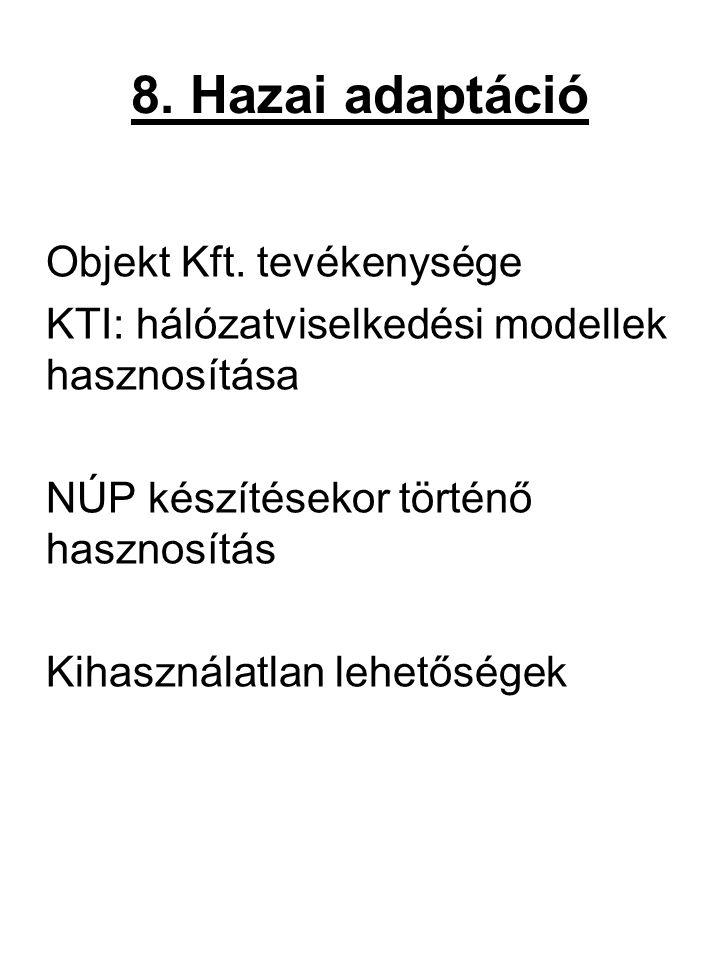 8. Hazai adaptáció Objekt Kft. tevékenysége KTI: hálózatviselkedési modellek hasznosítása NÚP készítésekor történő hasznosítás Kihasználatlan lehetősé