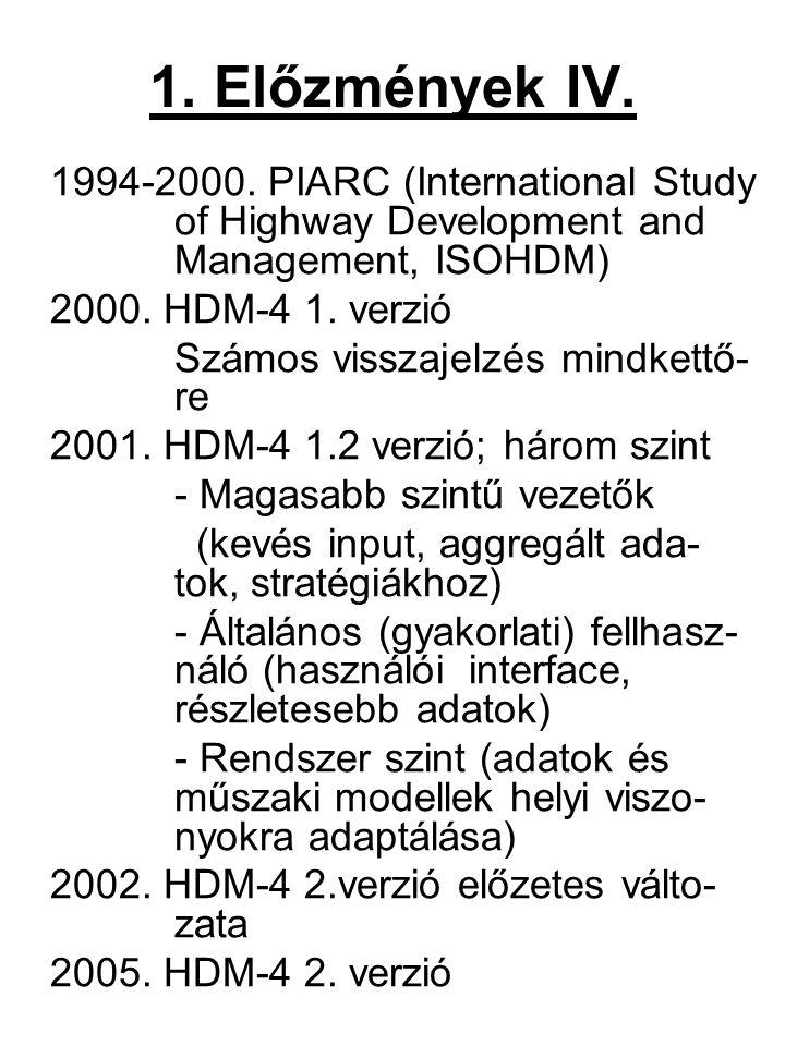 1. Előzmények IV. 1994-2000. PIARC (International Study of Highway Development and Management, ISOHDM) 2000. HDM-4 1. verzió Számos visszajelzés mindk