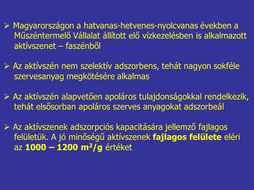  Magyarországon a hatvanas-hetvenes-nyolcvanas években a Műszéntermelő Vállalat állított elő vízkezelésben is alkalmazott aktívszenet – faszénből  Az aktívszén nem szelektív adszorbens, tehát nagyon sokféle szervesanyag megkötésére alkalmas  Az aktívszén alapvetően apoláros tulajdonságokkal rendelkezik, tehát elsősorban apoláros szerves anyagokat adszorbeál  Az aktívszenek adszorpciós kapacitására jellemző fajlagos felületük.