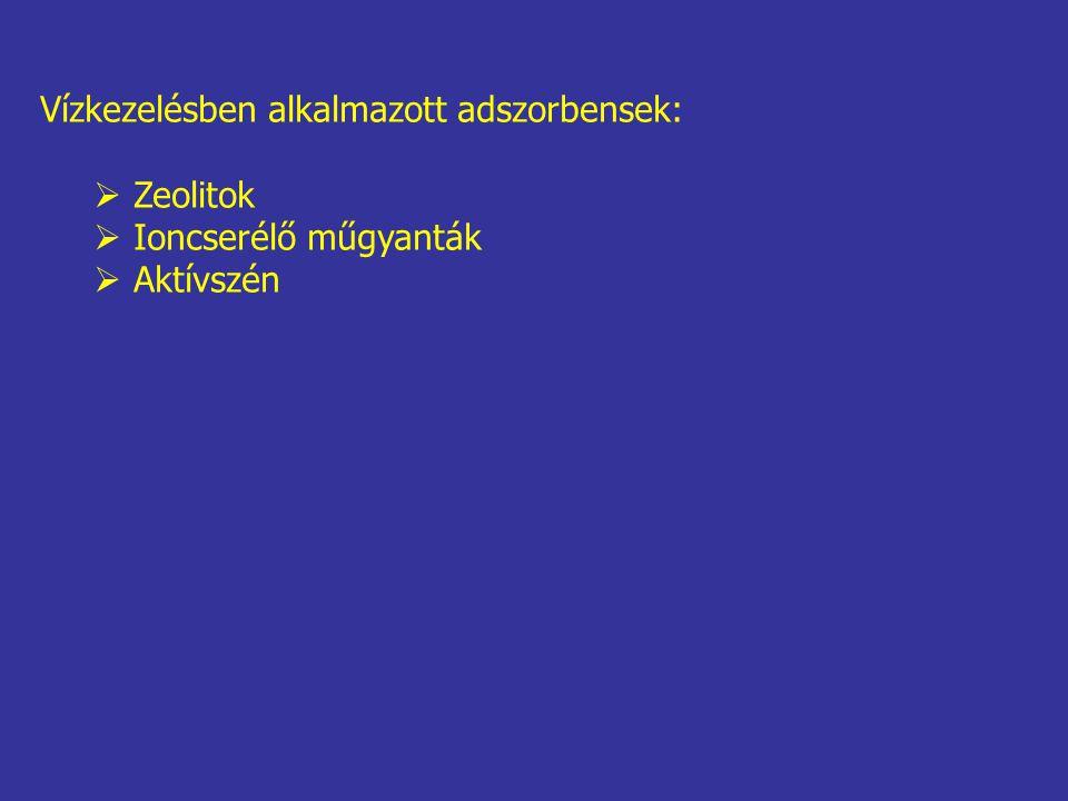 Vízkezelésben alkalmazott adszorbensek:  Zeolitok  Ioncserélő műgyanták  Aktívszén