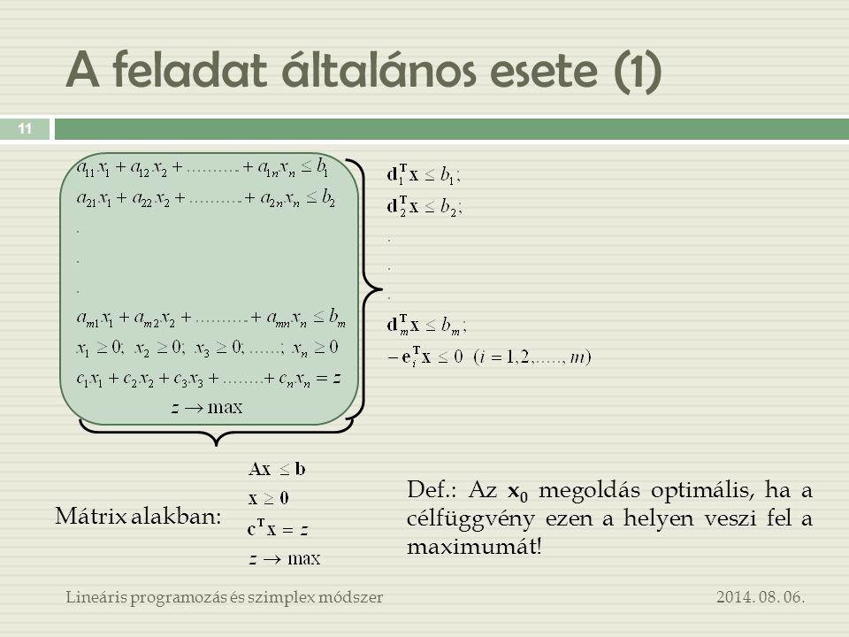A feladat általános esete (1) 2014. 08. 06.Lineáris programozás és szimplex módszer 11 Mátrix alakban: Def.: Az x 0 megoldás optimális, ha a célfüggvé