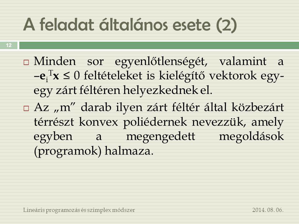 A feladat általános esete (2) 2014. 08. 06.Lineáris programozás és szimplex módszer 12  Minden sor egyenlőtlenségét, valamint a – e i T x ≤ 0 feltéte