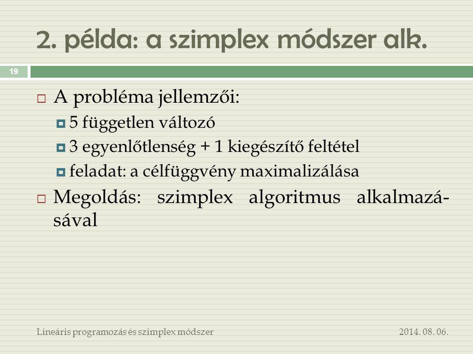 2. példa: a szimplex módszer alk. 2014. 08. 06.Lineáris programozás és szimplex módszer 19  A probléma jellemzői:  5 független változó  3 egyenlőtl