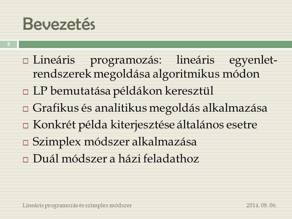Bevezetés 2014. 08. 06.Lineáris programozás és szimplex módszer 2  Lineáris programozás: lineáris egyenlet- rendszerek megoldása algoritmikus módon 