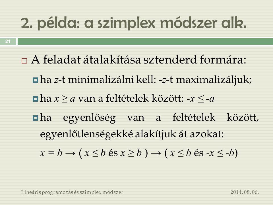 2. példa: a szimplex módszer alk. 2014. 08. 06.Lineáris programozás és szimplex módszer 21  A feladat átalakítása sztenderd formára:  ha z -t minima