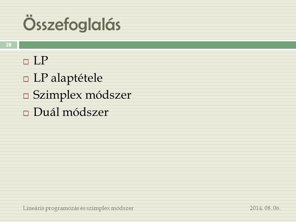 Összefoglalás 2014. 08. 06.Lineáris programozás és szimplex módszer 28  LP  LP alaptétele  Szimplex módszer  Duál módszer