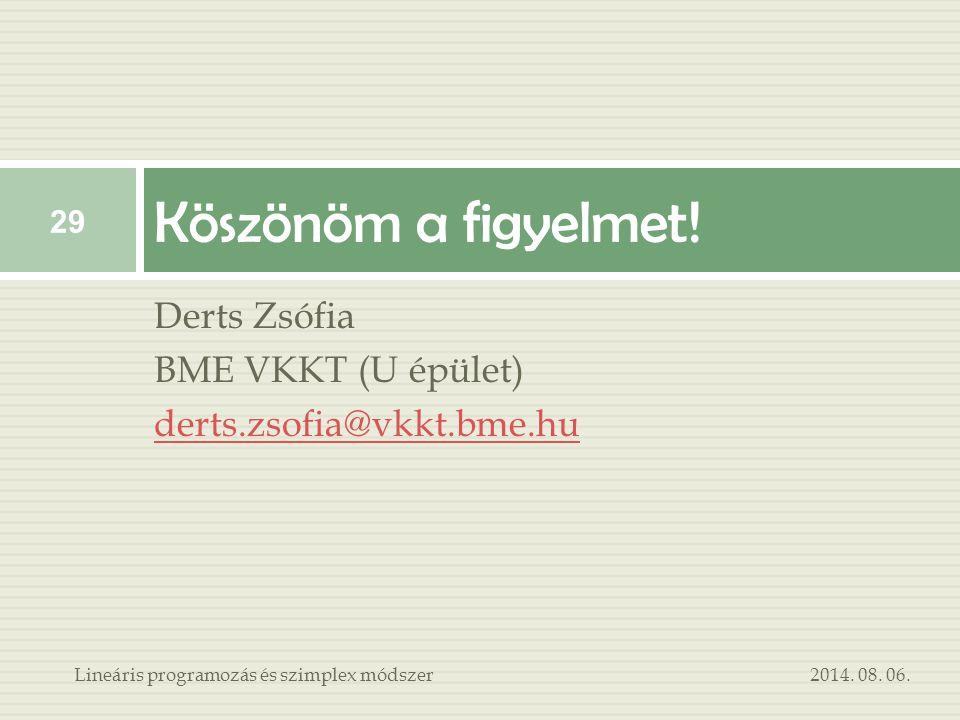 Derts Zsófia BME VKKT (U épület) derts.zsofia@vkkt.bme.hu Köszönöm a figyelmet! 2014. 08. 06. 29 Lineáris programozás és szimplex módszer