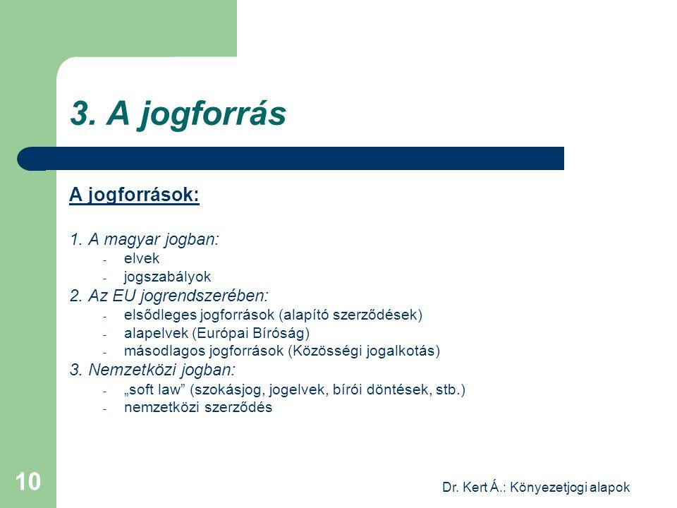 Dr. Kert Á.: Könyezetjogi alapok 10 3. A jogforrás A jogforrások: 1. A magyar jogban: - elvek - jogszabályok 2. Az EU jogrendszerében: - elsődleges jo