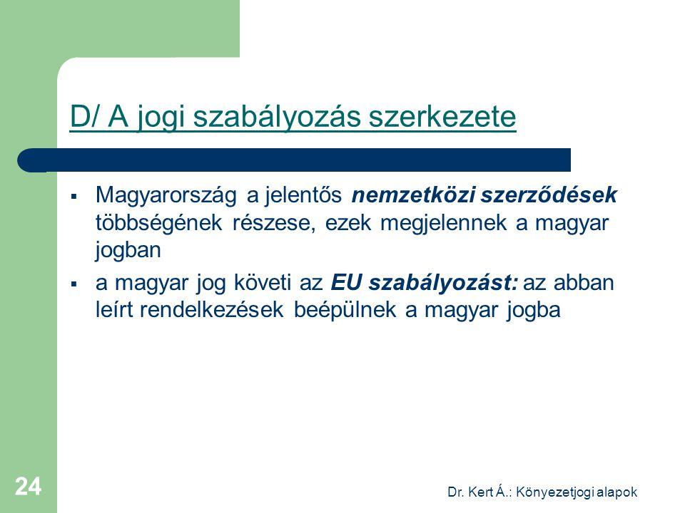 Dr. Kert Á.: Könyezetjogi alapok 24 D/ A jogi szabályozás szerkezete  Magyarország a jelentős nemzetközi szerződések többségének részese, ezek megjel