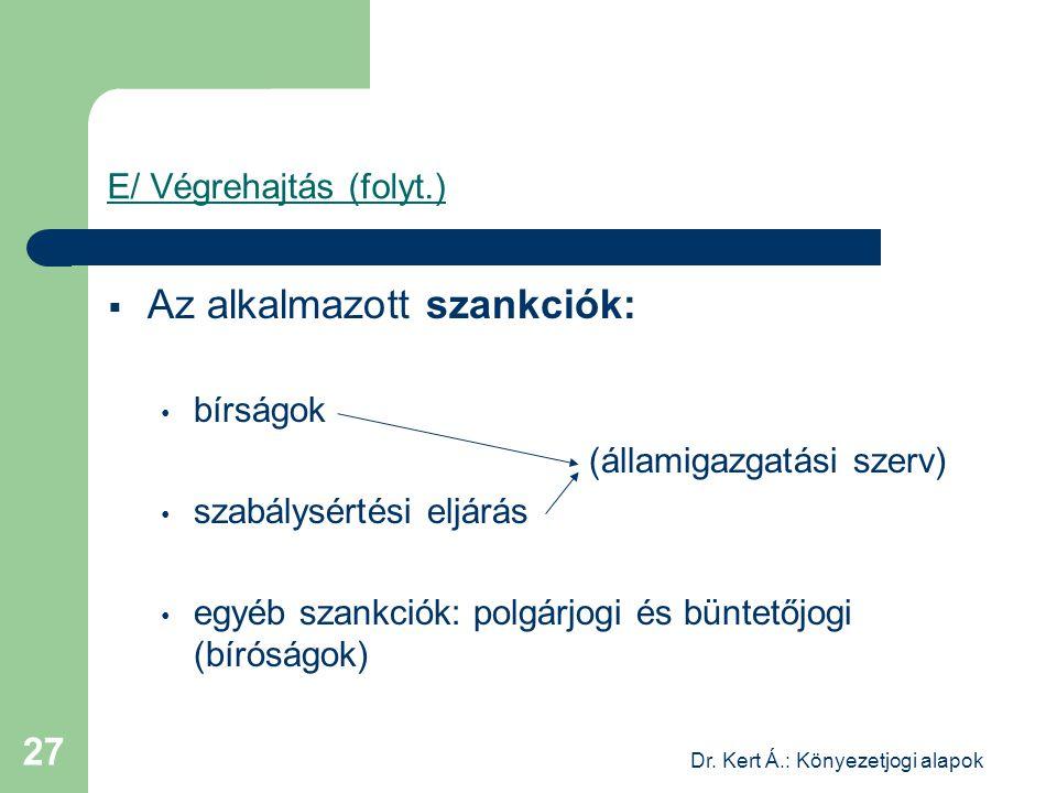 Dr. Kert Á.: Könyezetjogi alapok 27 E/ Végrehajtás (folyt.)  Az alkalmazott szankciók: bírságok (államigazgatási szerv) szabálysértési eljárás egyéb
