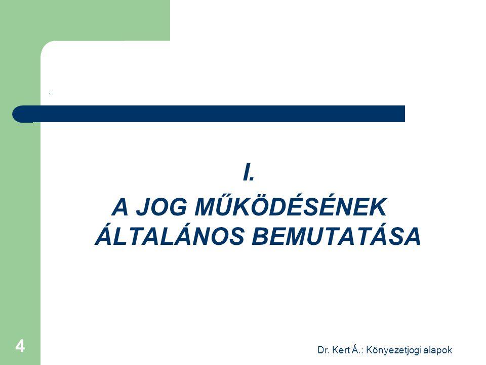 Dr. Kert Á.: Könyezetjogi alapok 4. I. A JOG MŰKÖDÉSÉNEK ÁLTALÁNOS BEMUTATÁSA