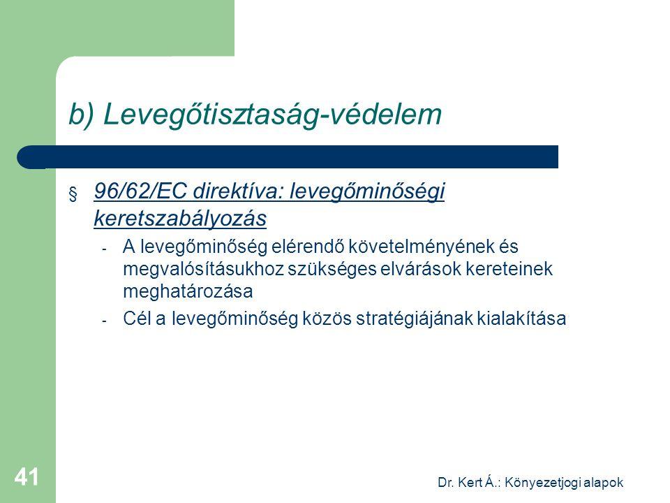 Dr. Kert Á.: Könyezetjogi alapok 41 b) Levegőtisztaság-védelem § 96/62/EC direktíva: levegőminőségi keretszabályozás - A levegőminőség elérendő követe