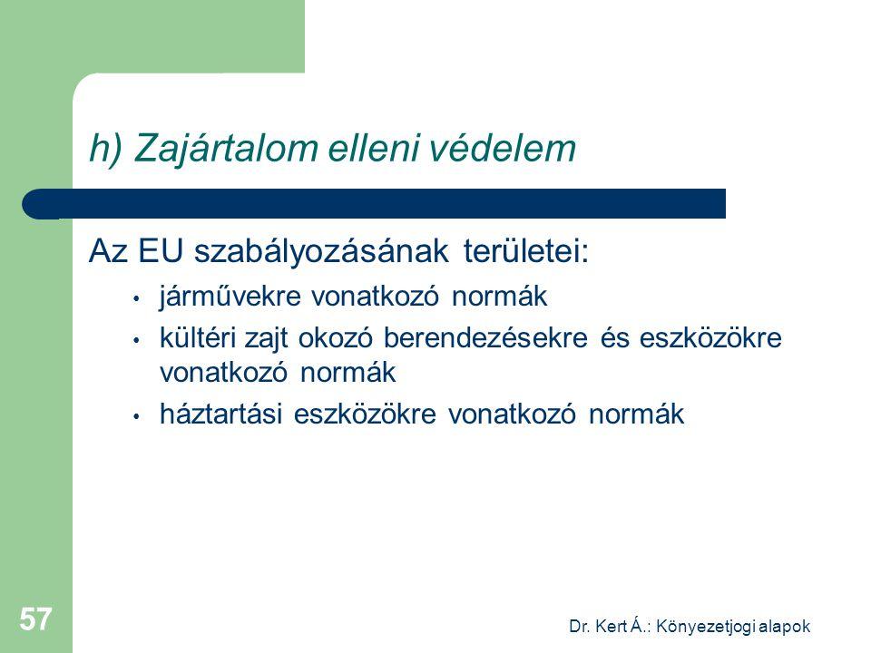 Dr. Kert Á.: Könyezetjogi alapok 57 h) Zajártalom elleni védelem Az EU szabályozásának területei: járművekre vonatkozó normák kültéri zajt okozó beren