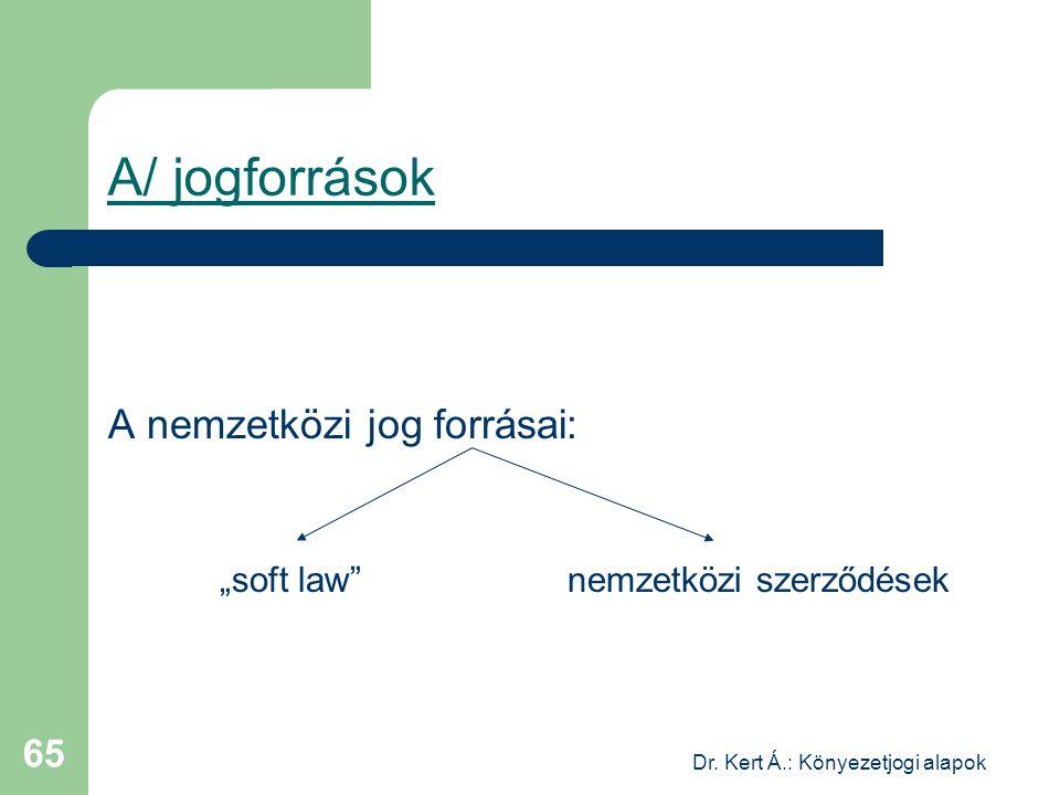 """Dr. Kert Á.: Könyezetjogi alapok 65 A/ jogforrások A nemzetközi jog forrásai: """"soft law"""" nemzetközi szerződések"""