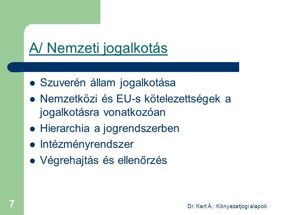 Dr. Kert Á.: Könyezetjogi alapok 7 A/ Nemzeti jogalkotás Szuverén állam jogalkotása Nemzetközi és EU-s kötelezettségek a jogalkotásra vonatkozóan Hier