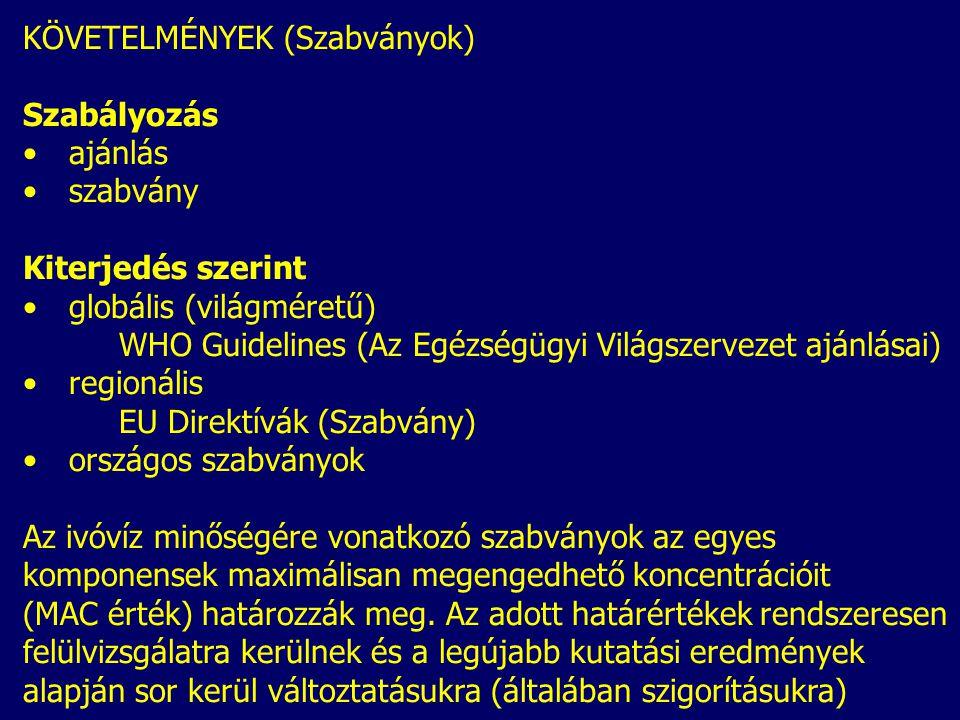 KÖVETELMÉNYEK (Szabványok) Szabályozás ajánlás szabvány Kiterjedés szerint globális (világméretű) WHO Guidelines (Az Egézségügyi Világszervezet ajánlá