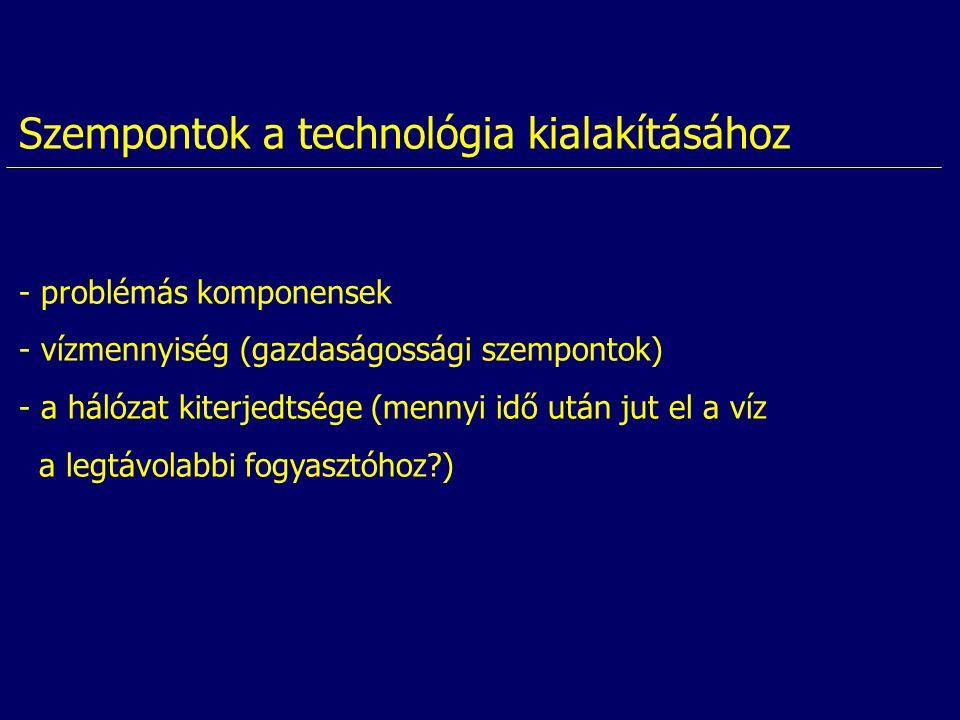 Szempontok a technológia kialakításához - problémás komponensek - vízmennyiség (gazdaságossági szempontok) - a hálózat kiterjedtsége (mennyi idő után