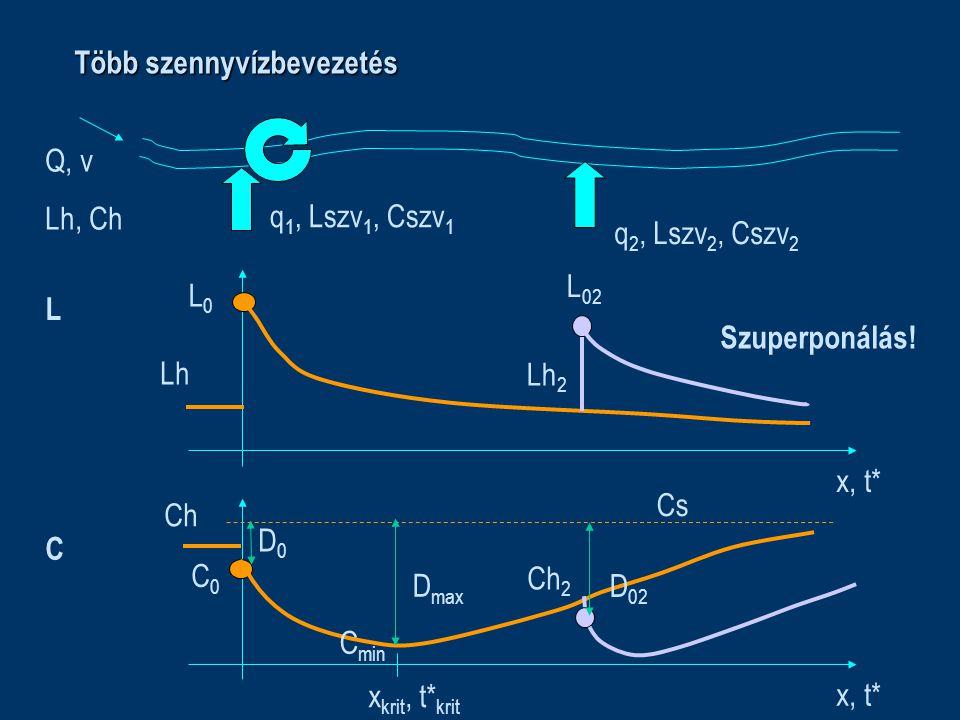 Több szennyvízbevezetés Q, v Lh, Ch q 1, Lszv 1, Cszv 1 x, t* L Lh L0L0 C Ch C0C0 Cs C min x krit, t* krit D0D0 D max Lh 2 q 2, Lszv 2, Cszv 2 Ch 2 L 02 D 02 Szuperponálás!