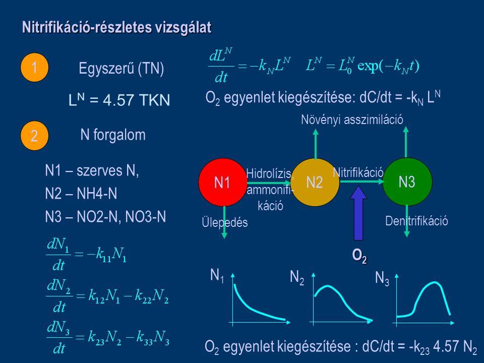 Nitrifikáció-részletes vizsgálat 1 2 Egyszerű (TN) N forgalom N1 N2 N3 Ülepedés Denitrifikáció Növényi asszimiláció Hidrolízis, ammonifi- káció Nitrifikáció O2O2O2O2 N1 – szerves N, N2 – NH4-N N3 – NO2-N, NO3-N N1N1 N2N2 N3N3 O 2 egyenlet kiegészítése : dC/dt = -k 23 4.57 N 2 O 2 egyenlet kiegészítése: dC/dt = -k N L N L N = 4.57 TKN
