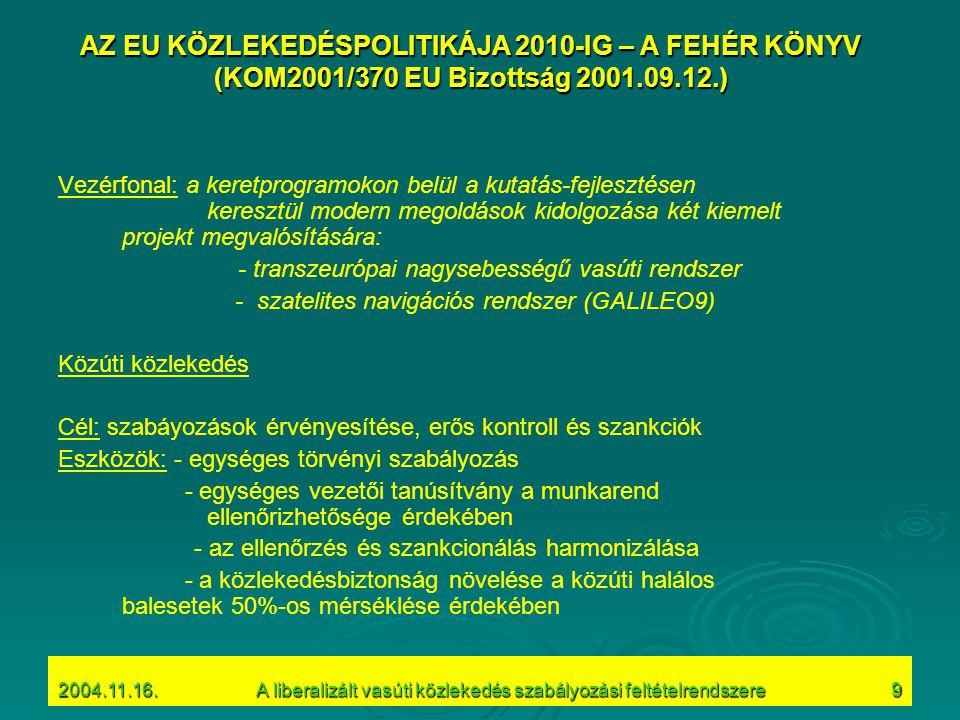 2004.11.16.A liberalizált vasúti közlekedés szabályozási feltételrendszere9 AZ EU KÖZLEKEDÉSPOLITIKÁJA 2010-IG – A FEHÉR KÖNYV (KOM2001/370 EU Bizottság 2001.09.12.) Vezérfonal: a keretprogramokon belül a kutatás-fejlesztésen keresztül modern megoldások kidolgozása két kiemelt projekt megvalósítására: - transzeurópai nagysebességű vasúti rendszer - szatelites navigációs rendszer (GALILEO9) Közúti közlekedés Cél: szabáyozások érvényesítése, erős kontroll és szankciók Eszközök: - egységes törvényi szabályozás - egységes vezetői tanúsítvány a munkarend ellenőrizhetősége érdekében - az ellenőrzés és szankcionálás harmonizálása - a közlekedésbiztonság növelése a közúti halálos balesetek 50%-os mérséklése érdekében