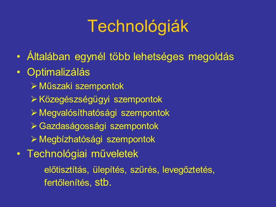 Technológiák Általában egynél több lehetséges megoldás Optimalizálás  Műszaki szempontok  Közegészségügyi szempontok  Megvalósíthatósági szempontok  Gazdaságossági szempontok  Megbízhatósági szempontok Technológiai műveletek előtisztítás, ülepítés, szűrés, levegőztetés, fertőlenítés, stb.