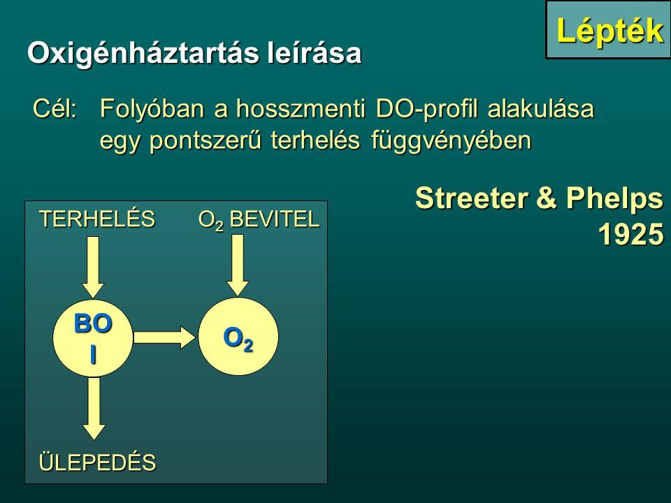 Streeter & Phelps 1925 BO I TERHELÉS O 2 BEVITEL ÜLEPEDÉS O2O2O2O2 Oxigénháztartás leírása Cél:Folyóban a hosszmenti DO-profil alakulása egy pontszerű terhelés függvényében Lépték