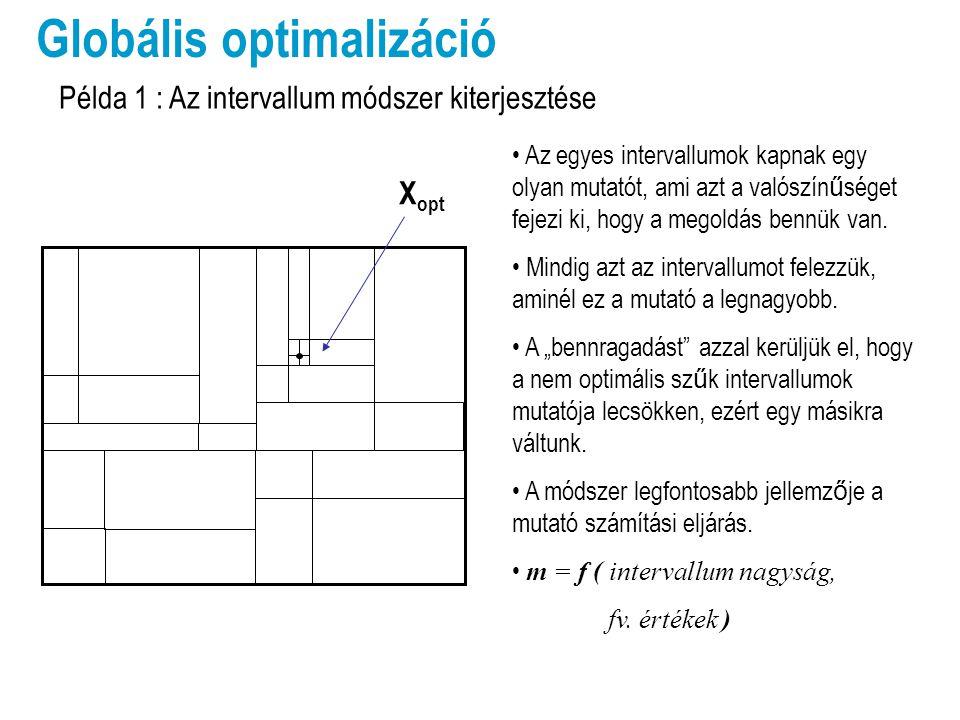 X opt x xhxh Lehatárolás (C i ) egyenes vonalakkal Globális optimalizáció Az eredeti függvényhez egy távolság arányos büntet ő fv-t adunk hozzá, ha kilép a határok közül.