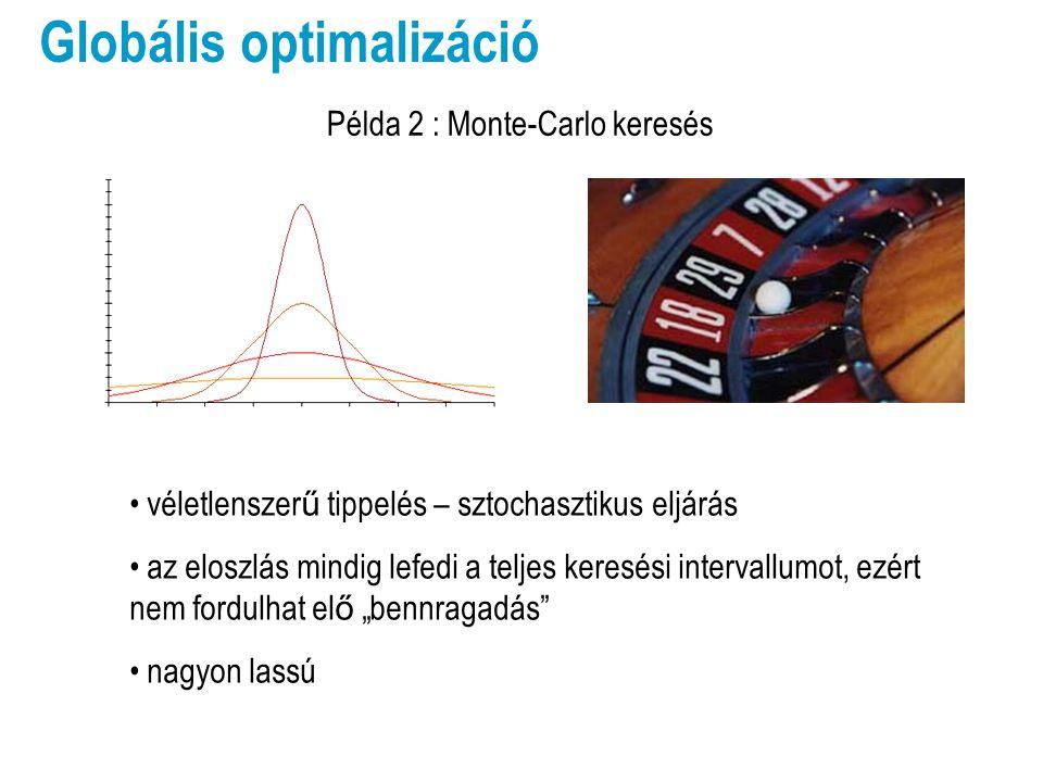 Globális optimalizáció Az általános elvek megvalósulása Keresési tartomány = a gének által kifejezhet ő tartomány Térképezés = mutáció A jelöltek finomítása = szaporítás Nagy populáció : többszálú térképezés  lassú számítás Sok generáció : soklépéses optimalizáció  lassú számítás Az algoritmus tuningolása