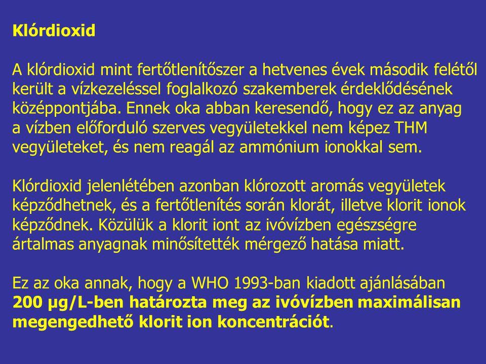 Klórdioxid A klórdioxid mint fertőtlenítőszer a hetvenes évek második felétől került a vízkezeléssel foglalkozó szakemberek érdeklődésének középpontjába.